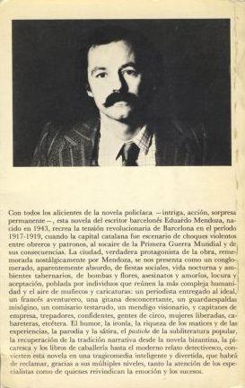 Contraportada de la 1ª edición de La verdad sobre el caso Savolta