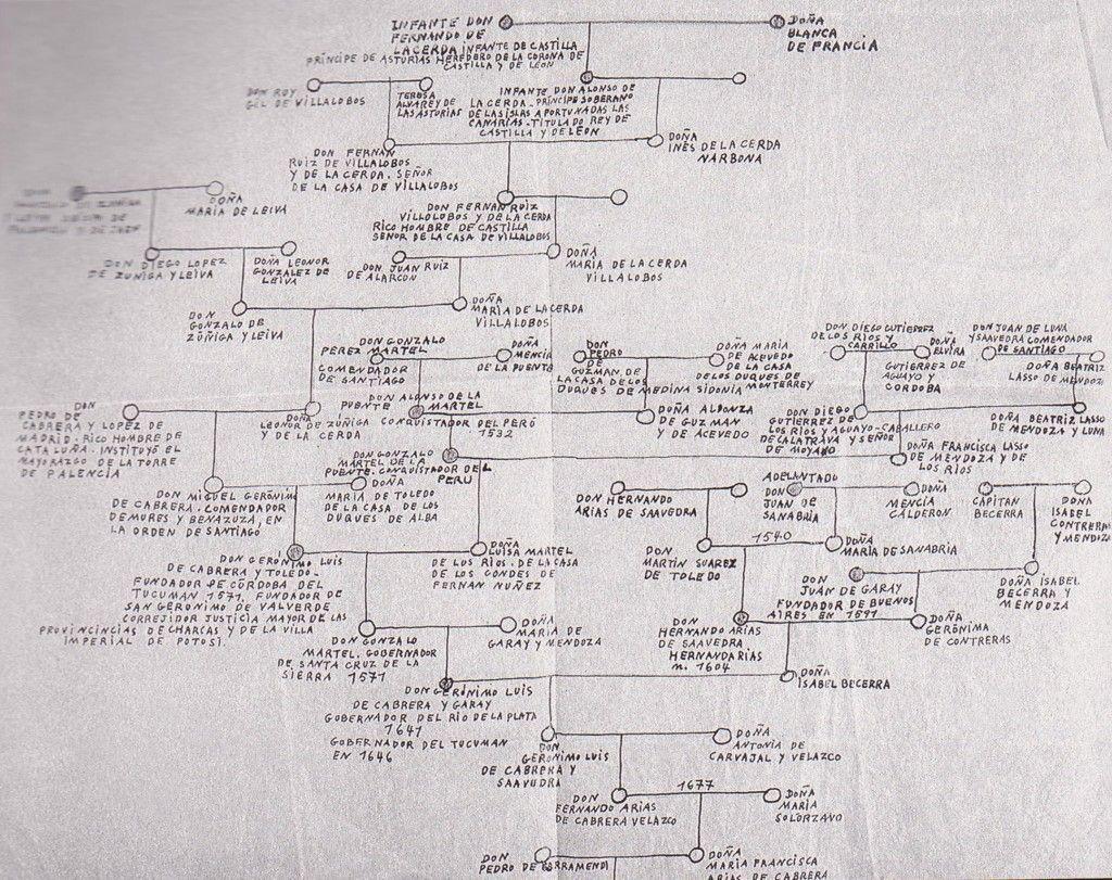 Árbol genealógico de la familia, realizado por Norah Borges
