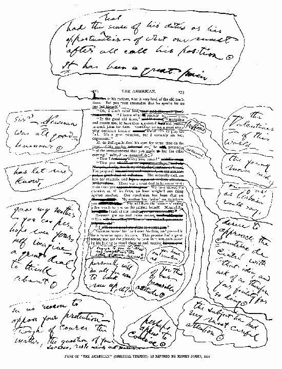 Corrección de una página de la novela El Americano para la Edición de Nueva York, de mano de su autor