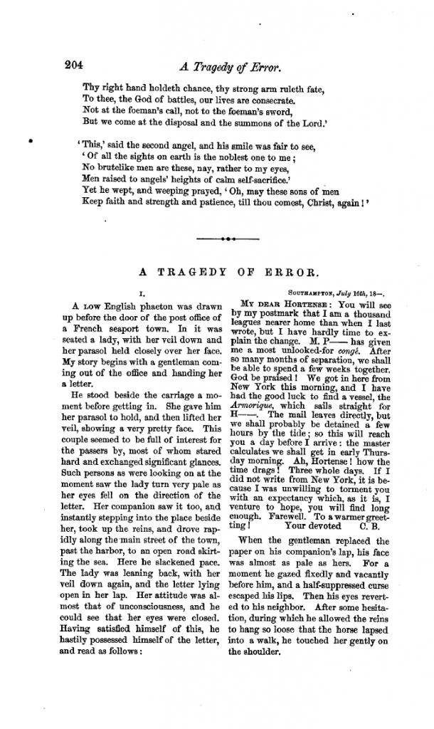Facsímil de la edición de febrero de 1864 del Continental Monthly, con el primer cuento de Henry James, A Tragedy of Error, sin firma