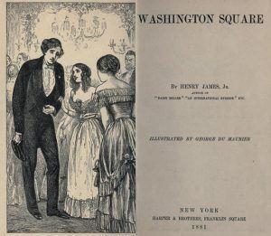 Portada interior de la primera edición de Washington Square, con ilustraciones de George Du Maurier