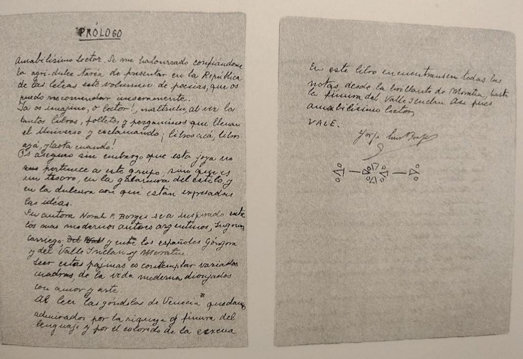 Manuscrito del prólogo de Jorge Luis Borges al poemario de su hermana Norah, Notas Lejanas (1915)